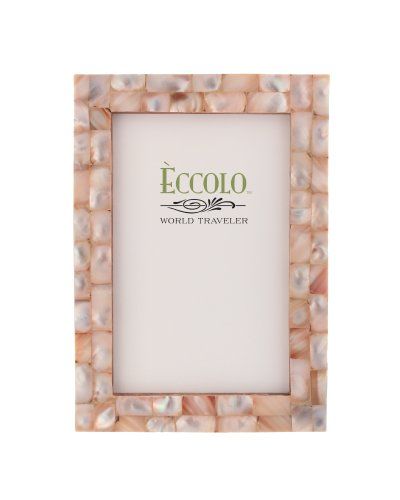 Eccolo World Traveler Naturals Collection Mother-of-Pearl Frame, Holds 8 by 10-Inch Photo, Pink ()