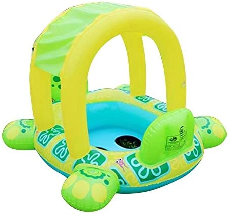 Overstock Inflatable Turtle Boat Ring with Sun Shade