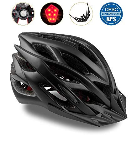 Shinmax Bike Helmet, CPSC Certified Adjustable Light Bike Helmet Specialized Cycling Helmet Men&Women Mountain Bike Helmet Visor&Rear Light