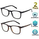 Blue Light Blocking Glasses, 2Pack Cut UV400 Computer Glasses for Anti Eyestrain
