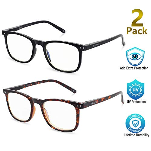 Blue Light Blocking Glasses, 2Pack Cut UV400 Computer Glasses for Anti Eyestrain