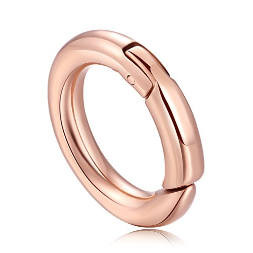 MESINYA 316L Stainless Steel Spring Snap Clip Trigger Clasp Lock Loaded Gate Locking Hook Chain Carabiner (Rose Gold Color 20MM)