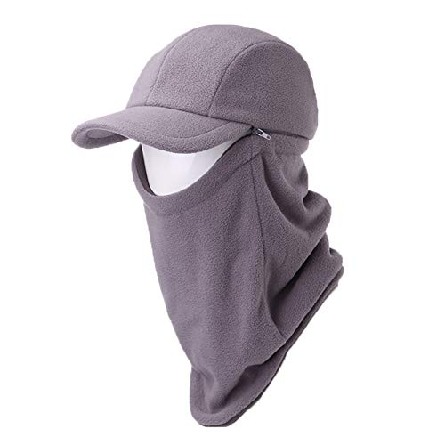Jeff & Aimy 2 Piece Hat & Scarf Sets Mens Baseball Cap Neck Gaiters Warmer Fleece Balaclavas Winter Hat Large Grey ()