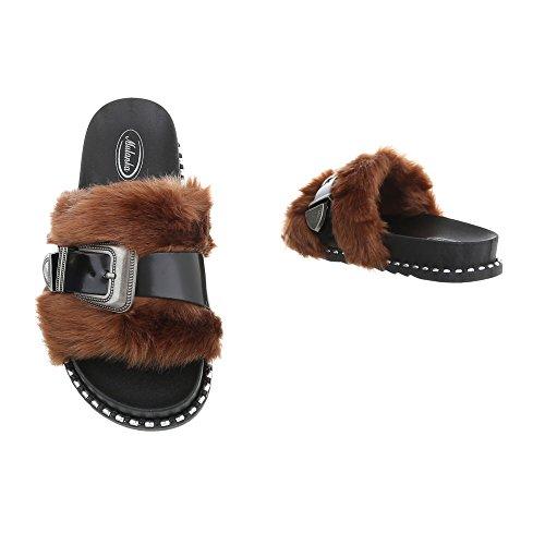 Zapatos para mujer Sandalias de vestir Plano Zuecos Ital-Design Negro Marrón 838