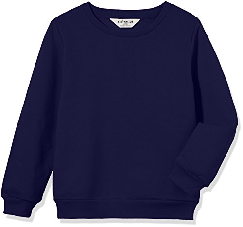 Kid Nation Kids' Slouchy Solid Brushed Fleece Sweatshirt for Boys Girls XL Navy