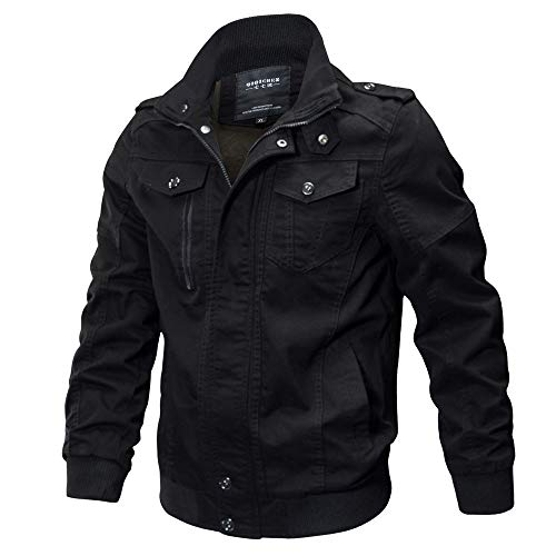 Clearance Forthery Men's Windbreaker Jacket Casual Military Jacket Button Down Outwear(Black, US Size S = Tag M)