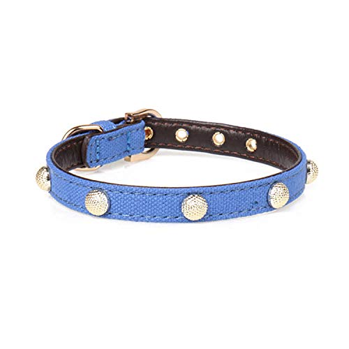 Dark bluee Pet Online Pet Supplies pu Metal Nails Decorative Dog collarDark bluee