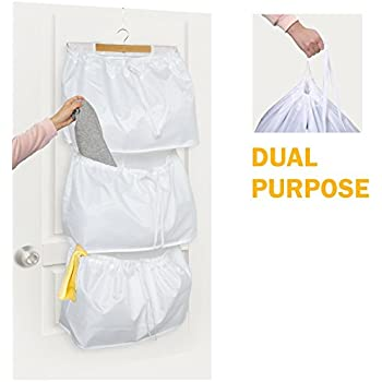 PUTING Space Saver Door Hanging Laundry Hamper With 3 Bags, Included Hook  For Bathroom Storage