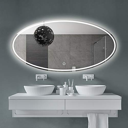 Bathroom mirror Oceanindw LED Backlit Wall Mounted Oval Shower Mirror with Smart Touch Button + Anti-Fog + Explosion-Proof/for Cosmetic Vanity Makeup or Shaving