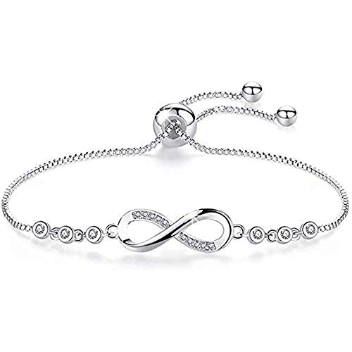 J.Fée Adjustable Sterling Silver Plated Bracelet Infinity Love Charm Cubic Zirconia -[Gift Packaging] Bracelet Valentine's Day Birthday Anniversary Great Gift for Women Girl Girlfriend