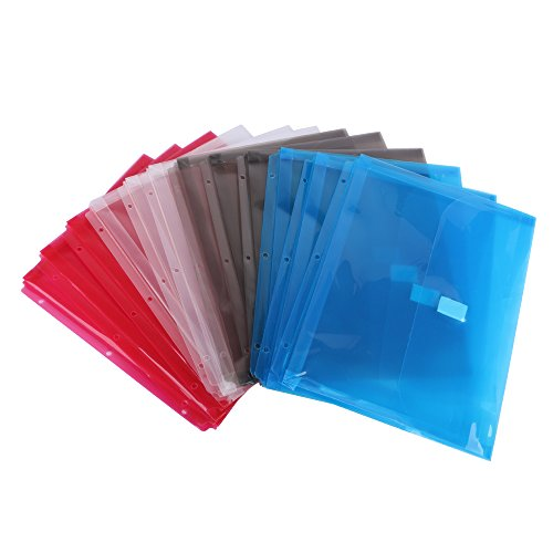 Eagle Poly Binder Pocket with Velcro Closure, 1-Inch Gusset, Letter Size, Assorted Colors, Pack of 12