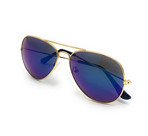 Military Style Aviator Sunglasses, Polarized, 100% UV 400 Protection (Gold Frame, Blue Mercury Lens)