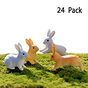 Tyoungg 24 Pieces Fairy Garden Easter Rabbit Miniature Animal Figures 15 11 Inch 24 Rabbits