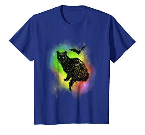 Black Cat Halloween T-Shirt Bat and Colored Fog