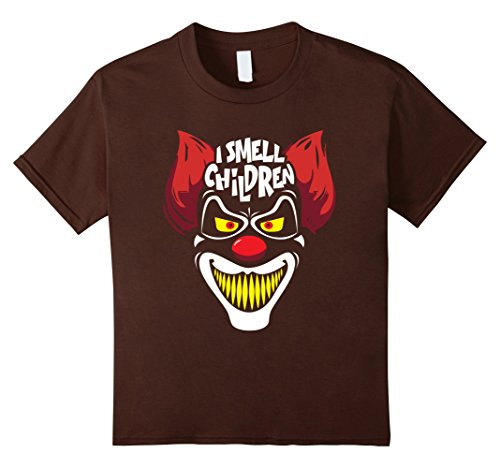 Cult Costume Ideas (Kids Creepy Killer Clown I Smell Children Halloween Costume Shirt 10 Brown)