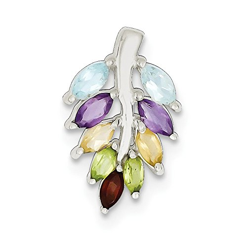 - 925 Sterling Silver Purple Amethyst Blue Topaz Yellow Citrine Red Garnet Green Peridot Leaf Pendant Charm Necklace Gemstone Fine Jewelry Gifts For Women For Her