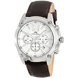Porsamo Bleu Nathan Genuine Leather Silver Tone & Brown Men's Watch 641ANAL