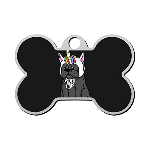 Qeksow Customizable Bone Shape ID Tags, Funny Unicorn French Bulldog Personalized Double Sided Printed Pet Information Collar for Cat Dog