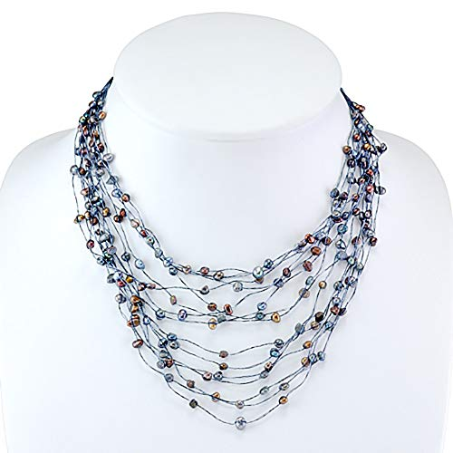(Silk Thread and Black Cultured Freshwater Pearl Multi Strand Cluster Necklace, 17-19 inches)