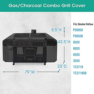 SunPatio Outdoor Heavy Duty Waterproof Grill Cover for Smoke Hollow Gas/Charcoal Grill and More, UV Resistant Barbecue Cover 79 Inch, All Weather Protection, Black