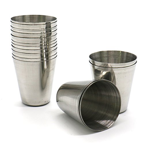 HUELE Set of 15pcs Stainless Steel Shot Glasses Drinking Vessel Drinking Cup Barware (1 Ounce) by HUELE