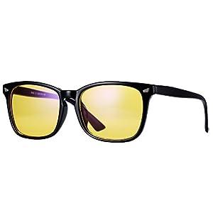 Pro Acme New Wayfarer Non-prescription Glasses Frame Clear Lens Eyeglasses (Amber Tinted Lenses/ Blue Light Filter)