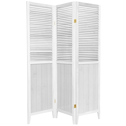 Room Door Shutter Panel 3 - Oriental Furniture 6 ft. Tall Beadboard Divider - White - 3 Panels