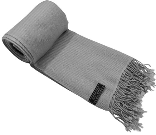 Light Grey High Grade 100% Cashmere Shawl Pashmina Hand Made in Nepal (100% 2 Ply Cashmere)