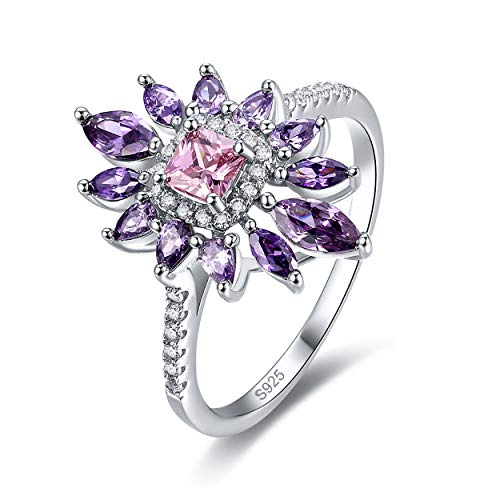 - Yeinos Womens Created Pink Topaz Cluster Flower Ring 925 Sterling Silver