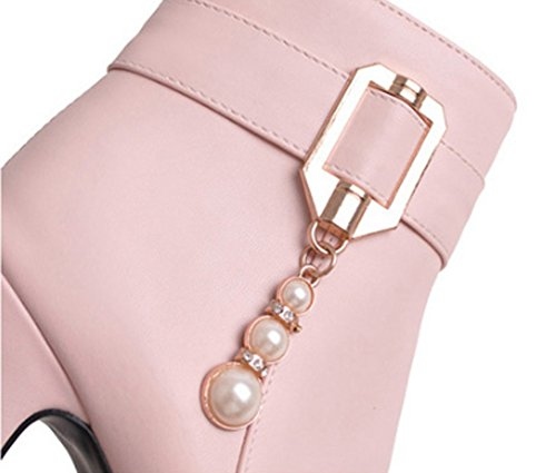 XZ Autumn and Winter Martin Boots Female Sexy High-Heeled Short Boots Pink V5FVlMKy