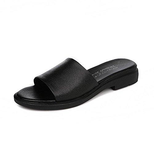 Heart&M Cuero genuino de las mujeres plana sandalias de suela plana talón Negro Zapatillas Black