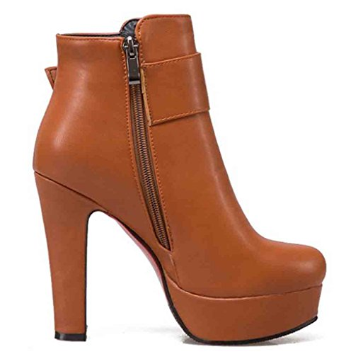 Easemax Kvinna Voguish Rund Tå Dragkedja Plattformkicken Chunky Klack Boots Brun