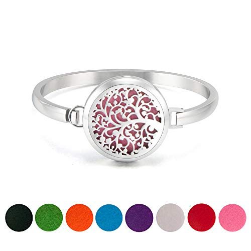 Essential Oil Diffuser Bracelet - 30mm Stainless Steel Aromatherapy Locket Bangle Bracelets Diffuser Jewelry for Women Girls, Free 8 Color Felt Pad, Tree of Life