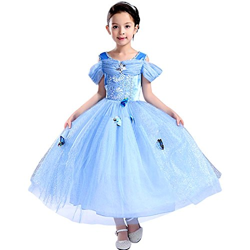 Tacobear Girls Princess Cinderella Costume Dress Halloween Party Fancy Dress Butterfly Girl Costume (6-7T)
