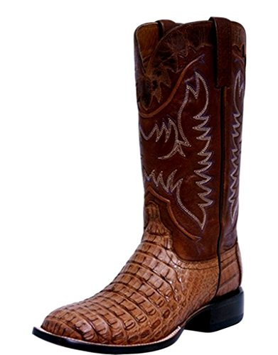 Hornback Caiman Cowboy Boots - Lucchese Men's Handmade 1883 Rhys Hornback Caiman Cowboy Boot Square Toe Tan 10.5 EE US