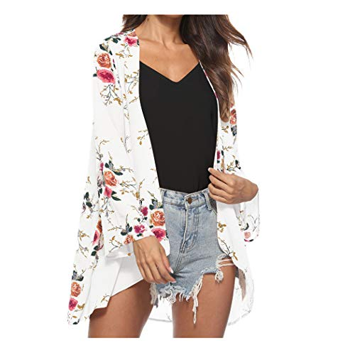 CUCUHAM Women Floral Cover Casual Blouse Tops Loose Kimono Cardigan Capes(Z5-White,Large) -
