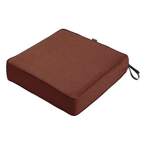Classic Accessories Montlake Seat Cushion Foam & Slip Cover, Heather Henna, 23x23x5