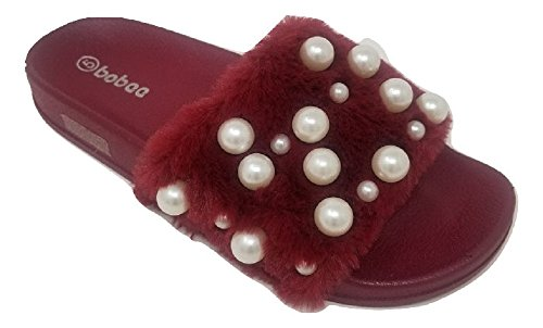 Women's Embellished Pearl Faux Fur Fuzzy Furry Platform Wedge Slide Sandals Slippers (10, (Burgundy Embellished)