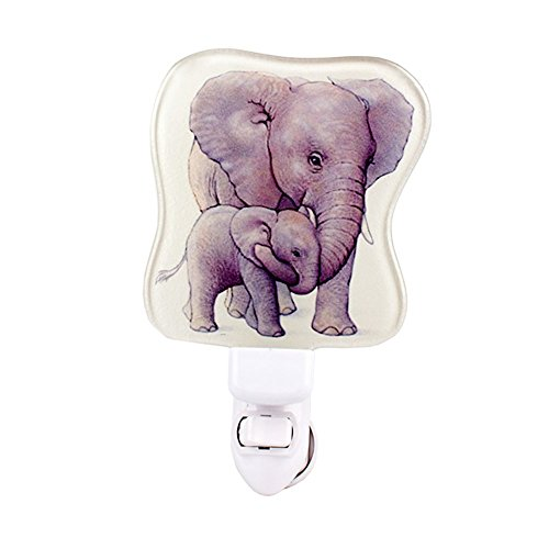 Liffy Glass Baby Bedroom Night Light Childs Wall Nursery LED Night Lamp for Kids Afraid of The Dark Elephant