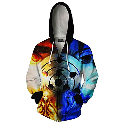 Team Jacket - CHENMA Men Naruto Kakashi Long Sleeve Full-Zip Bomber Jacket Hooded Varsity Jacket (M/US S, Team 7)