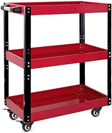 チェスト&キャビネット 自動車修理多機能ツールトロリー車修理肥厚モバイル売上高シェルフ層 ロールキャブ (色 : Red, Size : 67x37x79cm)