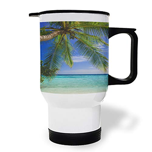 15 oz Stainless Steel Insulated Tumbler Travel Car Mug with Handle, Coconut Tree Coffee Mug with Lids, Double Wall Coffee Cups Mugs for Home Office from Roses Garden