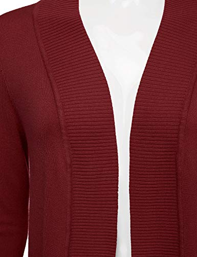 JJ Perfection Women's Open Front Knit Long Sleeve Pockets Sweater Cardigan