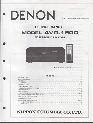 ORIGINAL Service Manual: Denon Model AVR-1500 AV Surround Receiver