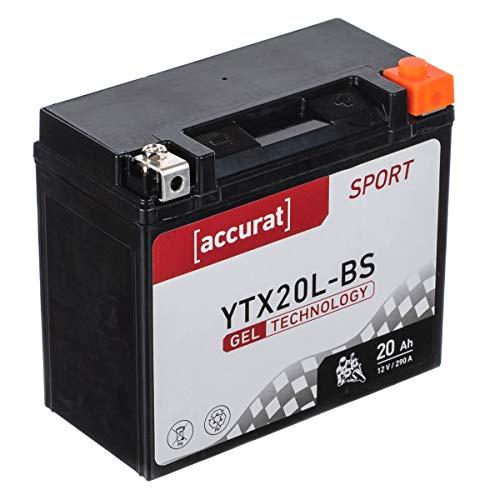 Accurat motorfietsaccu YTX20L-BS 20Ah 290A 12V gel-technologie startaccu in OEM-kwaliteit cyclusvast veilig opbergbaar…