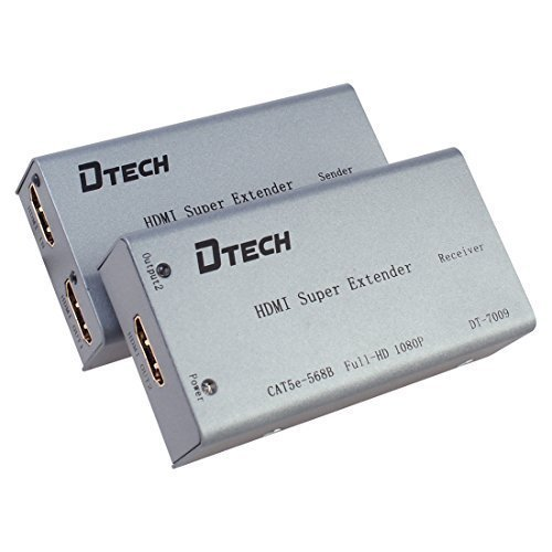 DTECH HDMI Extender over Cat5e Cat6 Ethernet Cable up to 196 Feet Supports dual monitor 1080P 3D by DTech
