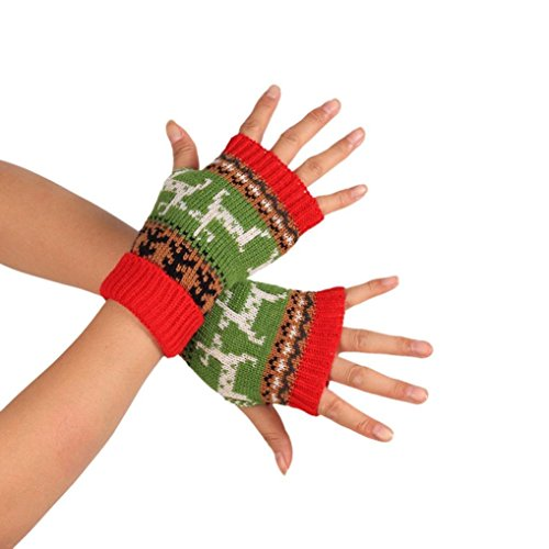 Amiley Women Winter Warm Knitted Half Fingerless Gloves Hand Wrist Warmer Mitten