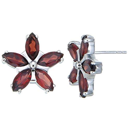 Sterling Silver Garnet Flower Earrings (1.20 CT)