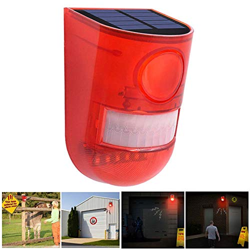 SZYOUMY Solar Powered Sound Alarm Strobe Light Flashing 6LED Light Motion Sensor Security Alarm System 110dB Loud Siren for Home Villa Farm Hacienda Apartment Outdoor Yard Day Mode + Night Mode