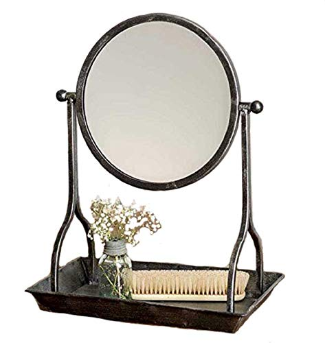 CTW Country Rustic Theme Home Decor Bathroom Vanity Tray with Round Mirror, Grey